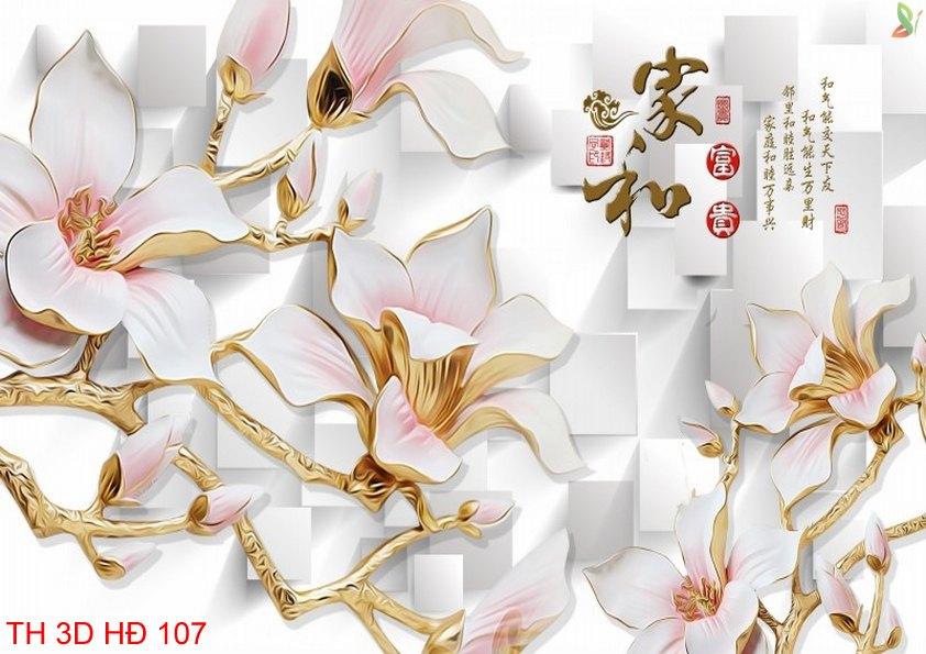 TH 3D HÐ 107 - Tranh hoa 3D hiện đại 107