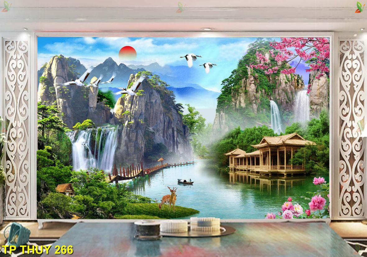 TP Thuy 266 - Trang trí nhà bằng tranh dán tường thác nước tuyệt đẹp