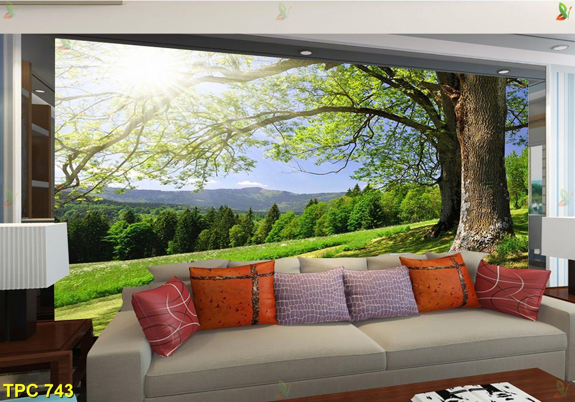 TPC 743 - Mẫu tranh dán tường 3D đẹp nhất cho phòng khách