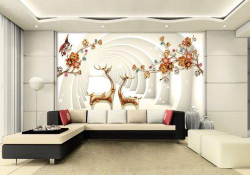 tranh dán tường 1 500x351 - Không gian sống động và ấn tượng nhờ tranh dán tường