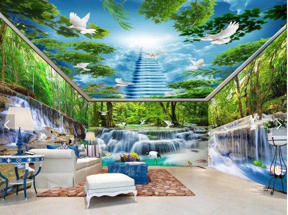 tranh kính nghệ thuật 4 1 - Trần xuyên sáng phòng khách điểm nhấn rực rỡ cho ngôi nhà của bạn