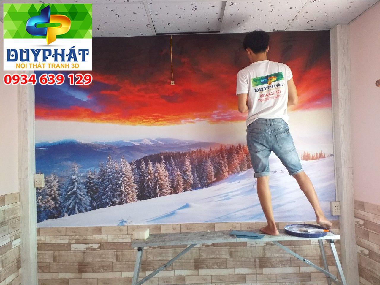Thi công tranh dán tường nhà anh Giang quận 5