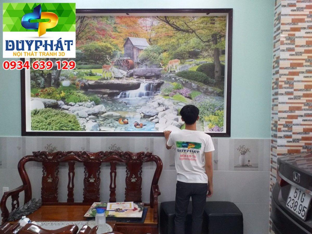 Thi công tranh dán tường nhà anh Khanh quận 6