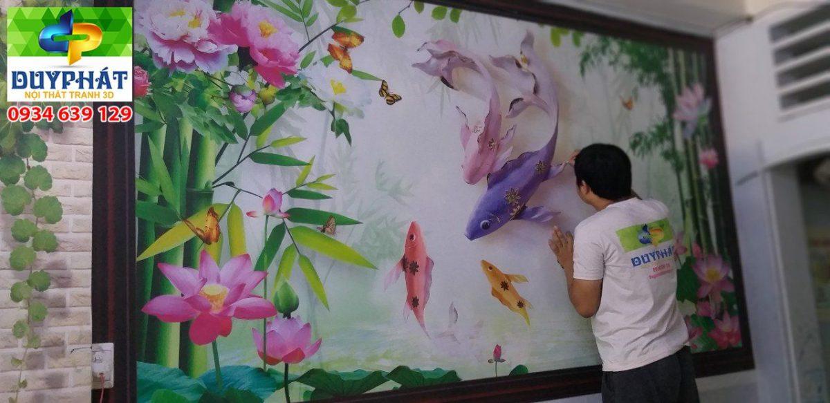 Thi công tranh dán tường nhà anh Nam quận phú nhuận