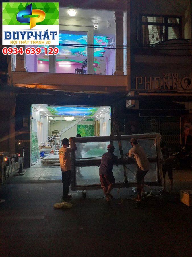 Thi công tranh dán tường nhà anh Lộc quận Gò Vấp