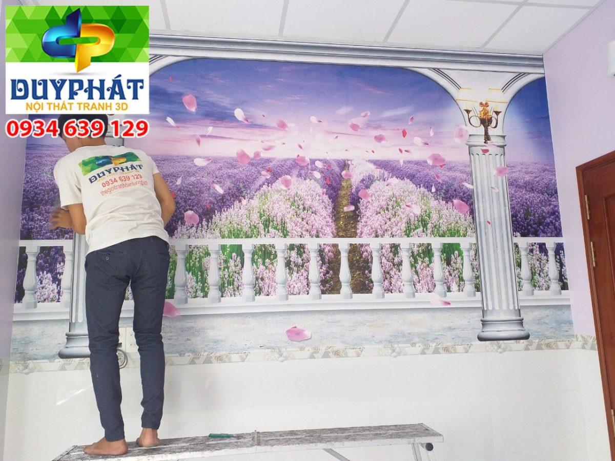 Thi công tranh dán tường nhà chị Thảo quận Tân Bình