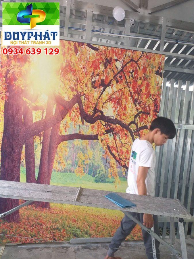 Thi công tranh dán tường nhà chị Uyên quận Bình Tân