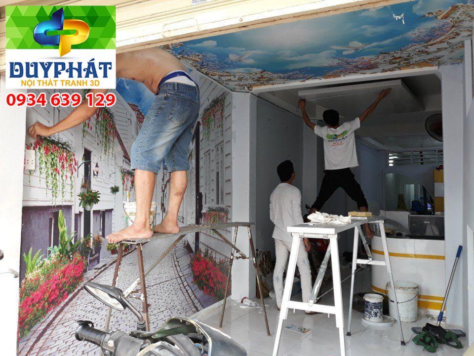 Thi công tranh dán tường nhà chị Cúc quận Bình Thạnh