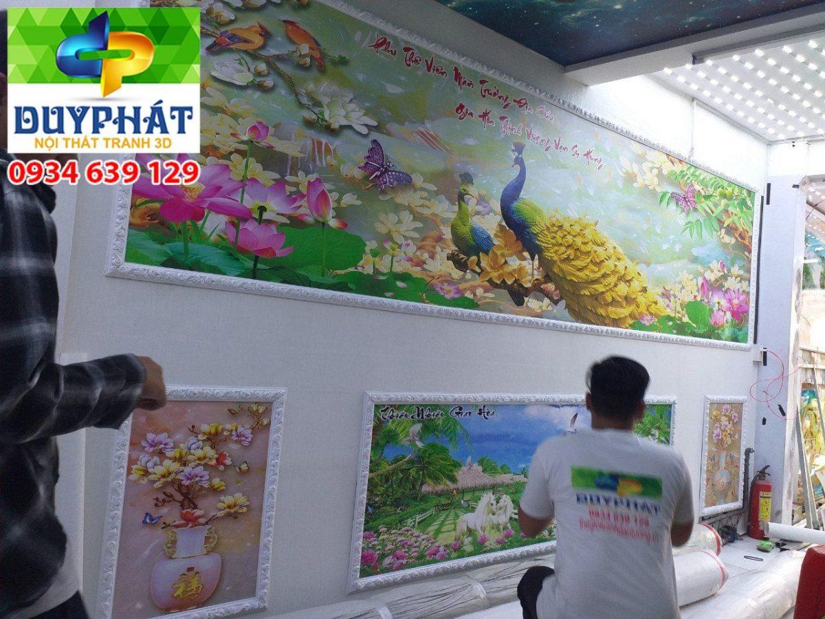Thi công tranh dán tường nhà chị Loan quận 1