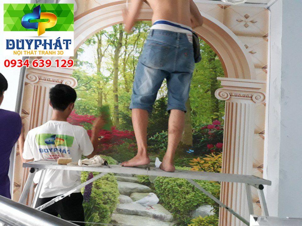 Thi công tranh dán tường nhà chị Kim quận 2
