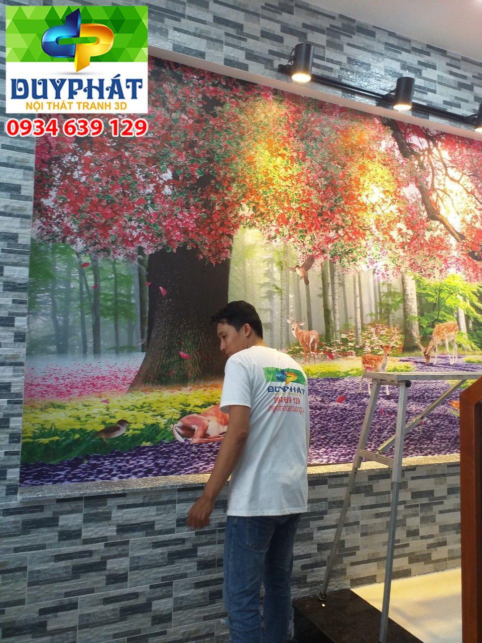 Thi công tranh dán tường nhà chị Ngọc quận 3