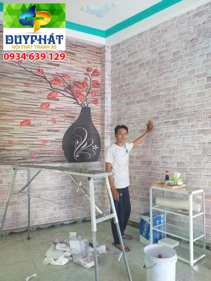 Thi công tranh dán tường nhà chị Thuận quận 4