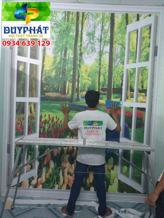 Thi công tranh dán tường nhà Anh Thái quận 7