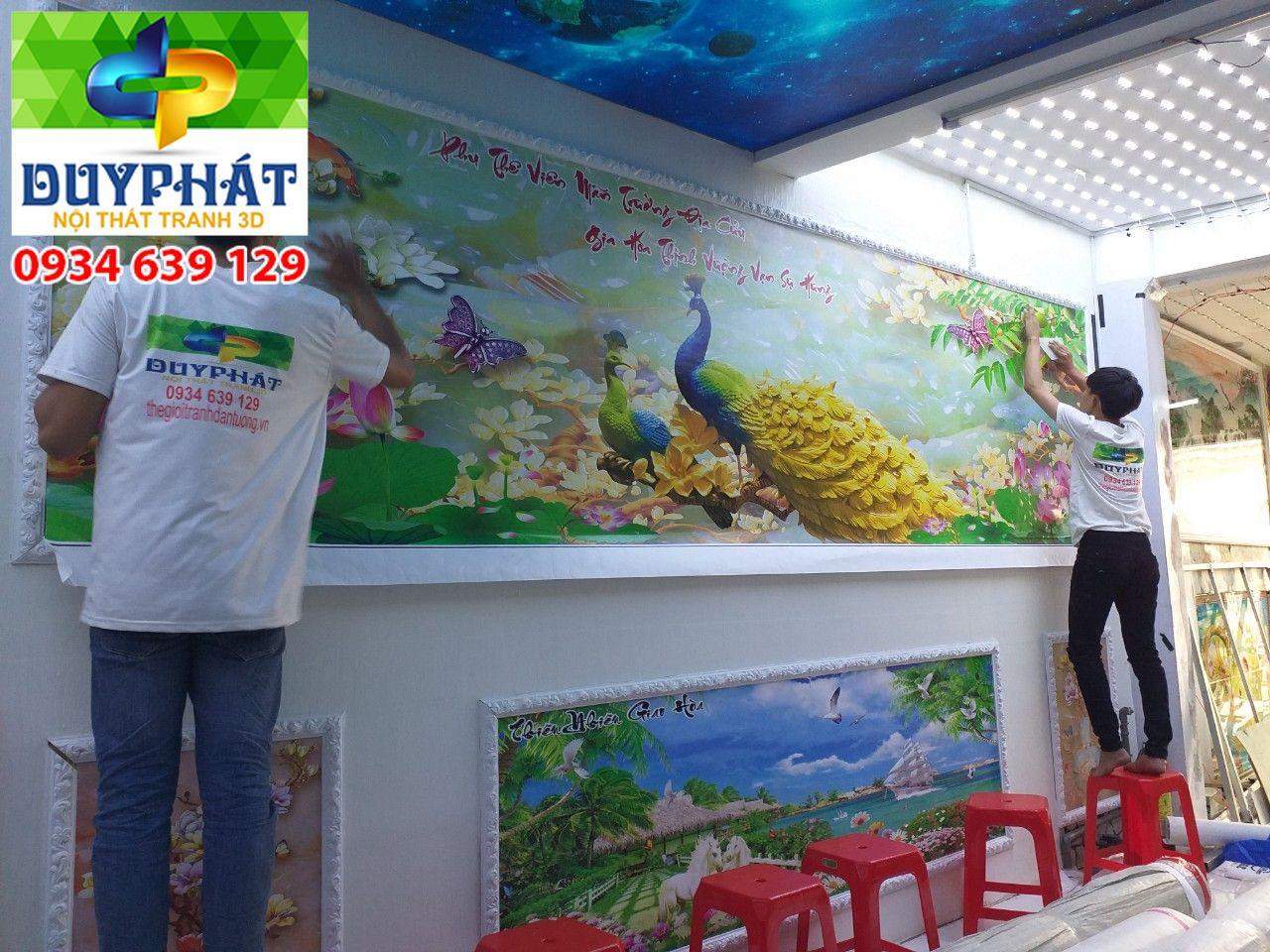 Thi công tranh dán tường nhà Anh Linh quận 9