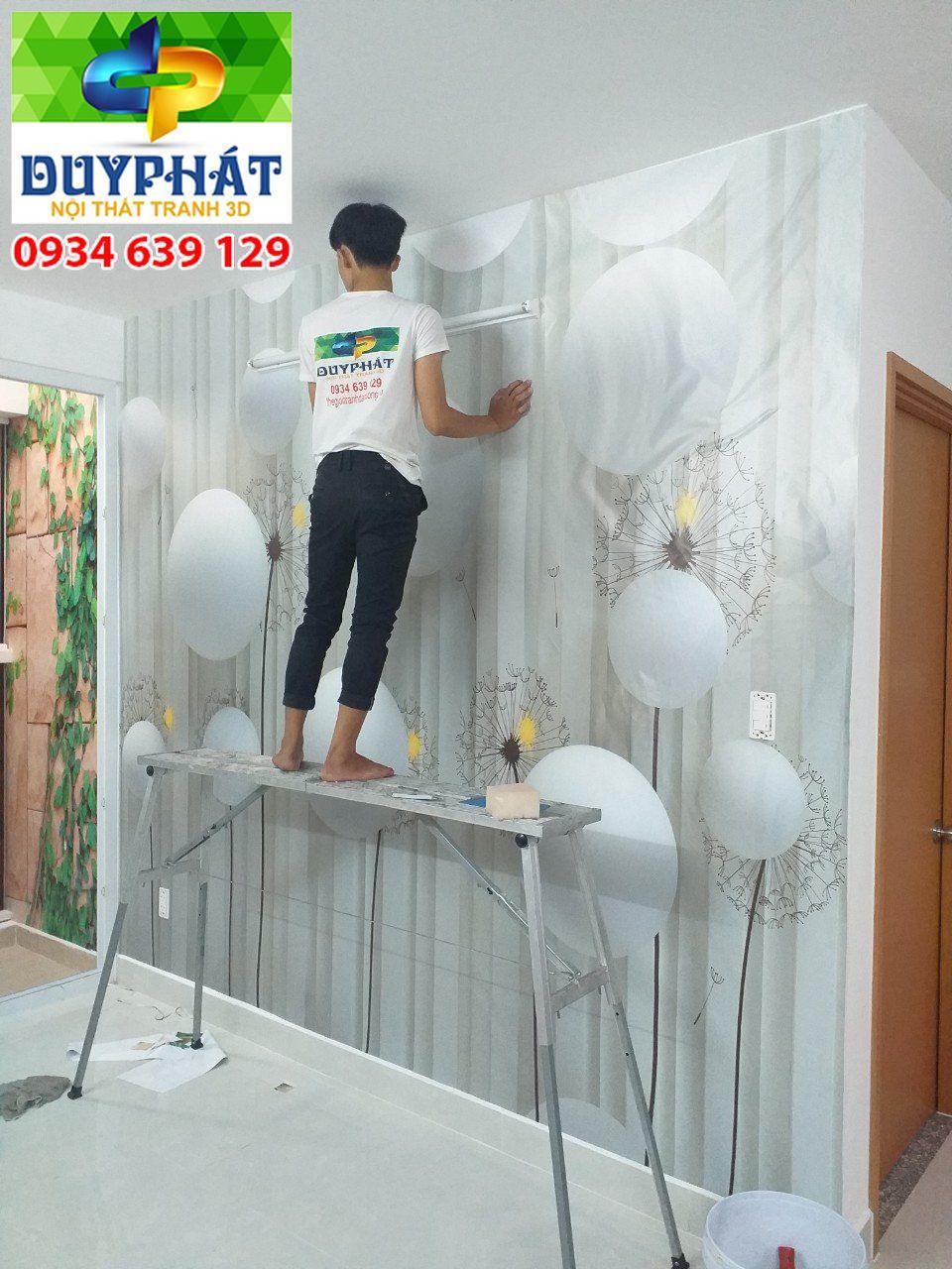 Thi công tranh dán tường nhà chị Mai quận Gò Vấp