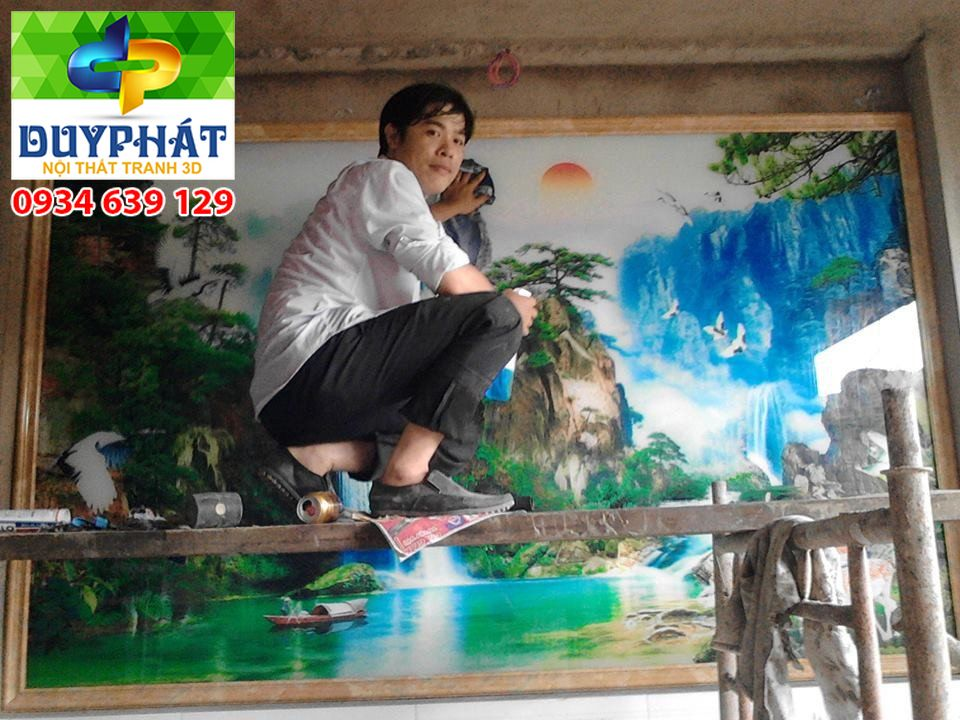 Thi công tranh dán tường nhà chị Trâm quận Bình Tân