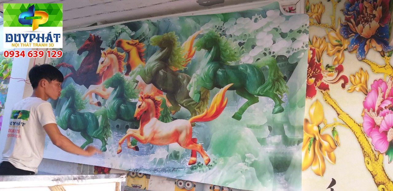 Thi công tranh dán tường nhà chị Vân quận Thủ Đức