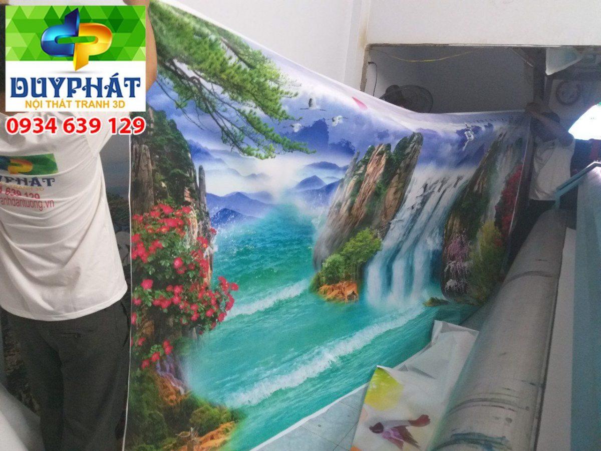 Thi công tranh dán tường nhà chị Trúc quận Bình Thạnh