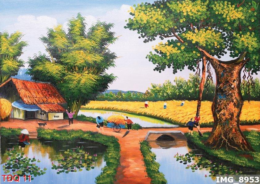 tranh giấy dán tường 3d cảnh đồng quê