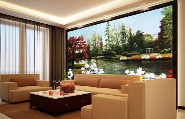 tranh kính cho không gian phòng khách