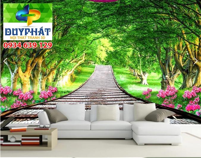 tranh con đường 1 - Tranh 3d dán tường siêu đẹp