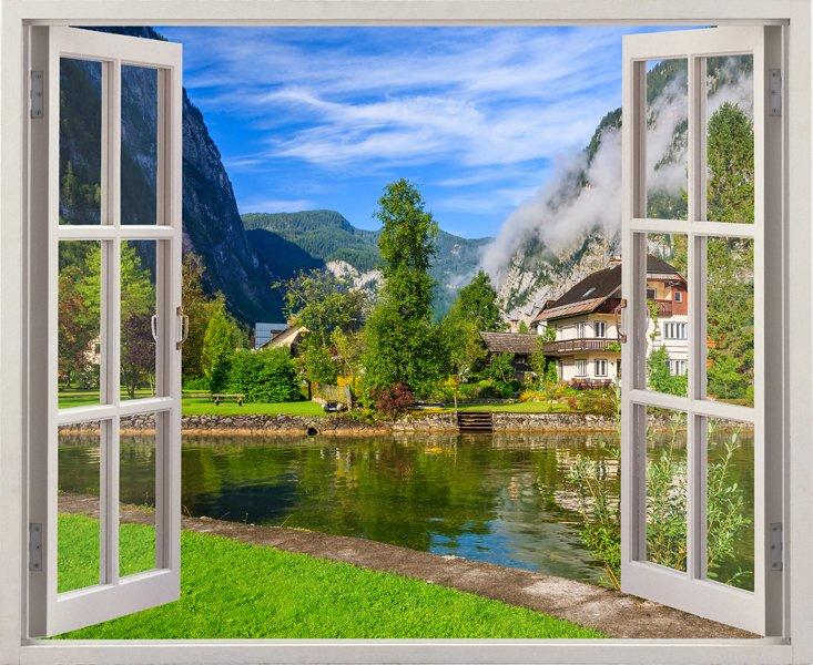 tranh cua 1 - Tranh 3d dán tường cửa sổ trong mơ khiến bạn không thể rời mắt